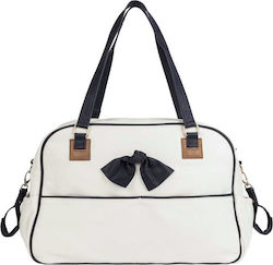 Mayoral Leatherette Changing Bag with Contrast Details White
