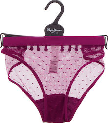 PEPE JEANS W POLLY LACE BRIEF UNDERWEAR - U4F5641PEP-423 BURGUNDY
