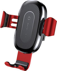 Baseus Qi Wireless Fast Charger Air Vent Gravity Car Mount Red