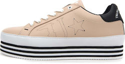 TRUSSARDI LEATHER HIGH SOLE SNEAKERS ΓΥΝΑΙΚΕΙΑ TRUSSARDI ΡΟΖ (79S00129-9Y099999-P040)