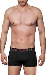 MEN'S BOXER BAMBOO BRIEF WITH EXTERNAL WAISTBAND ΜΑΥΡΟ- ΓΚΡΙ ΣΚ. - W1770