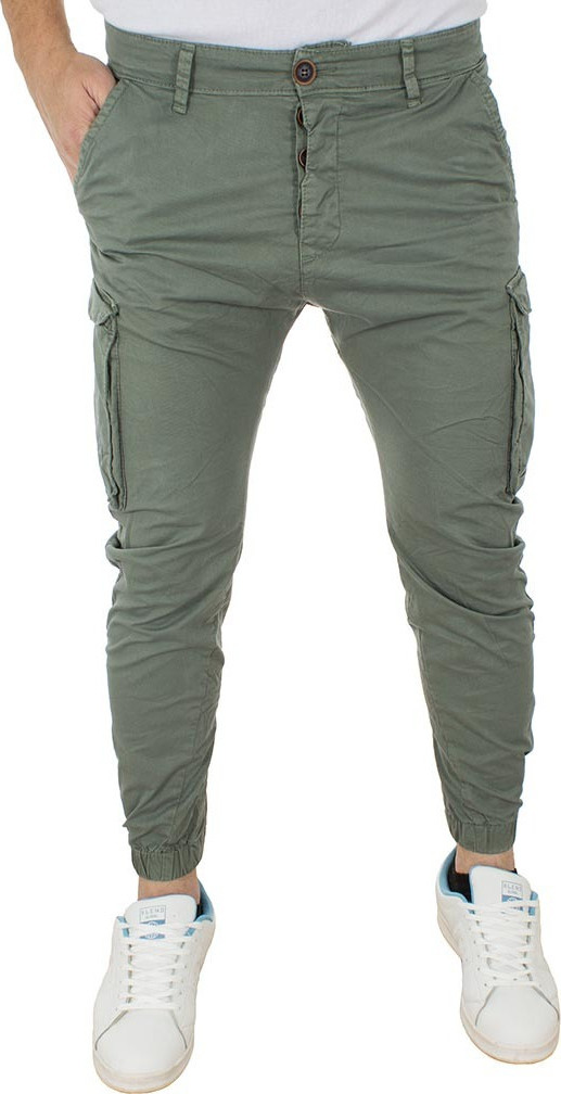 314f2722da89 Ανδρικό Cargo Παντελόνι Chinos με Λάστιχα Back2jeans Army M60 Χακί ...