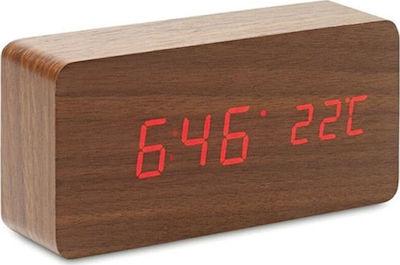 Ψηφιακό Ρολόι Επιτραπέζιο με Ξυπνητήρι Μεγάλο ξύλινο επιτραπέζιο ρολόι Brown 03006WDN30WD