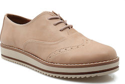 Oxford δετά υποδήματα με flatform σόλα 120 Δ NUDE