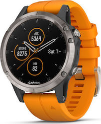 Garmin Fenix 5 Plus Titanium with Solar Flare Orange Band