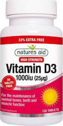Natures Aid Vitamin D3 1000iu 120 ταμπλέτες