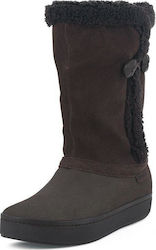 Suede Button Boot W Crocs (Modessa Suede Brown)