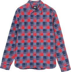 STUSSY Brend Flannel L/S Shirt - Navy - 111996-NAVY