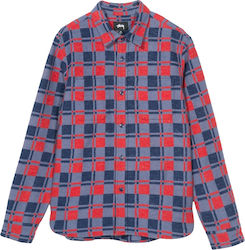 Stüssy Brent Flannel LS Shirt 1119966 - Navy / Red