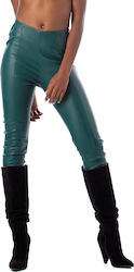 J'aime Les Garcons Pants-Dark Green (Παντελόνια Γυναικείο Synthetic leather Dark Green - W19G3008)