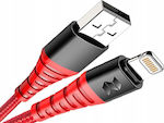 Rock Braided USB to Lightning Cable Κόκκινο 1m (Space)