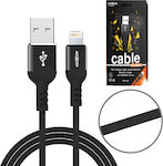 Moxom Braided USB to Lightning Cable Μαύρο 1m (CC-35)