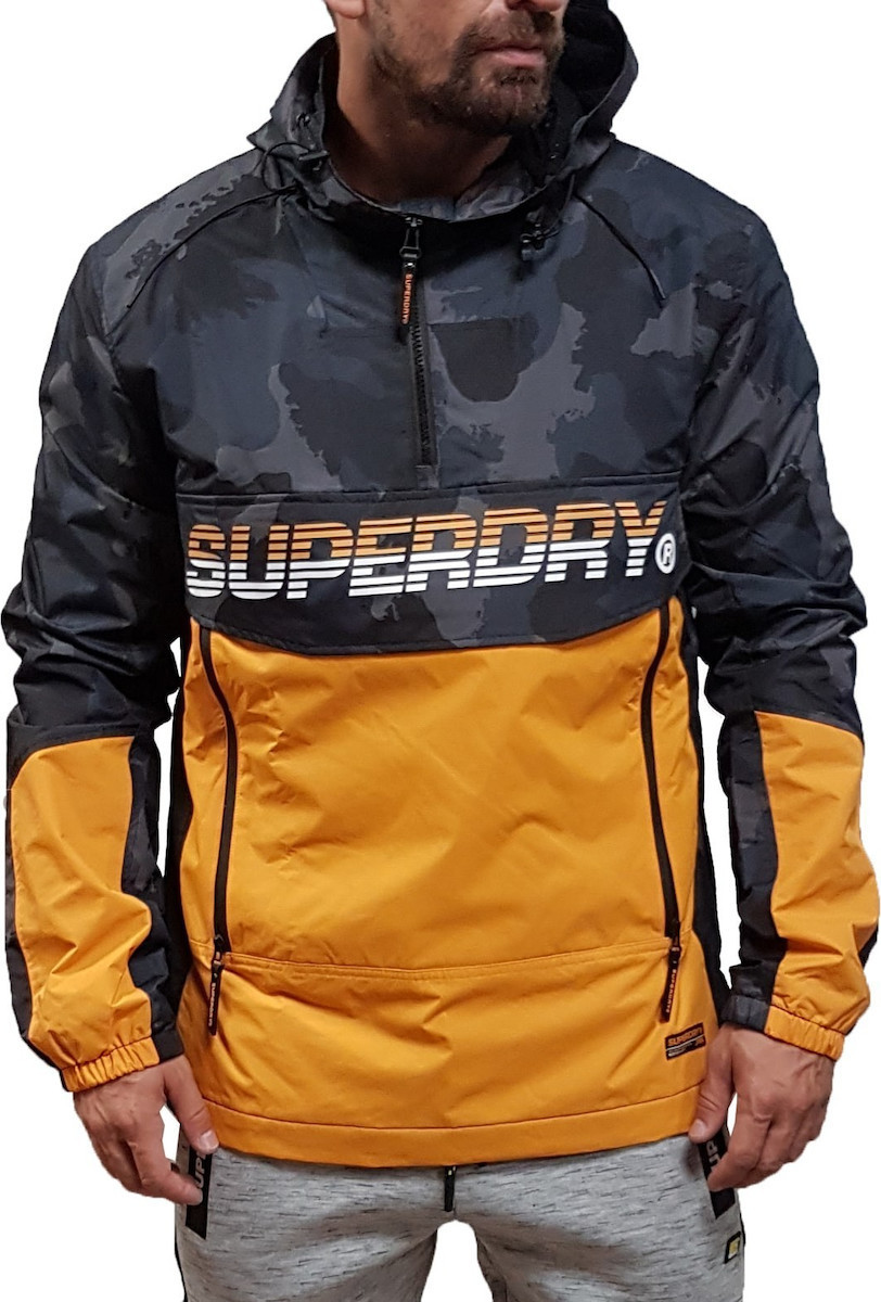 online store 964ea 1a674 Superdry Casual Navy DiSruptive Camo / Bright Orange Core Overhead Cagoule  Pullover Με Κουκούλα