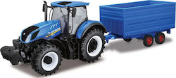Bburago 1:32 New Holland T7hd Tractor With Hay Trailer
