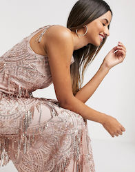 Goddiva sequin and lace maxi dress in pink