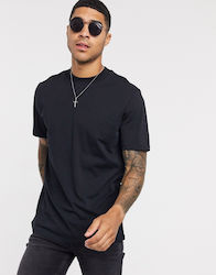 Selected Homme high neck t-shirt in heavy black organic cotton