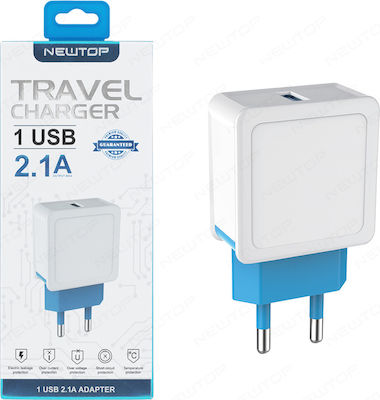 Newtop USB Wall Adapter Λευκό (CM03)