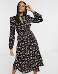 Stradivarius floral midi dress with neck tie in...