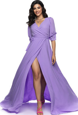 Μάξι Lilac Φόρεμα Wrap Over Λιλά
